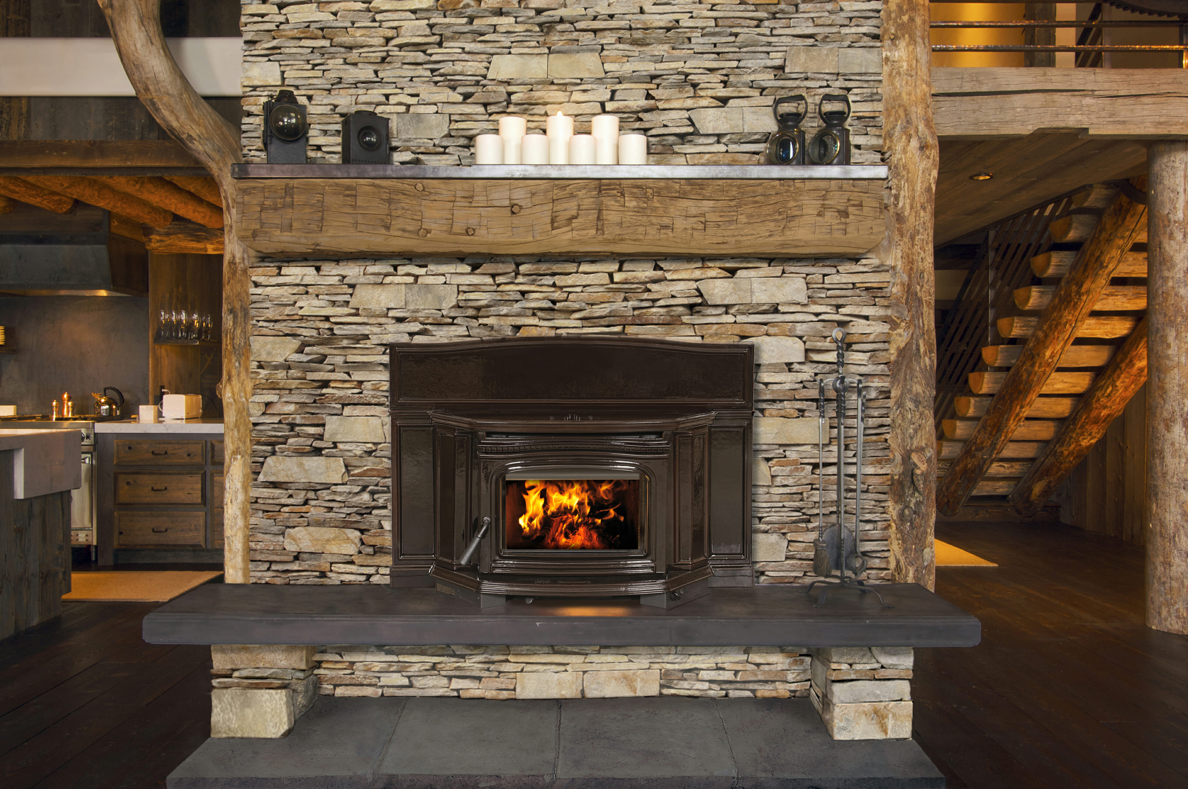 Rustic Fireplace In Log Cabin Edwards And Sons Hearth And Home