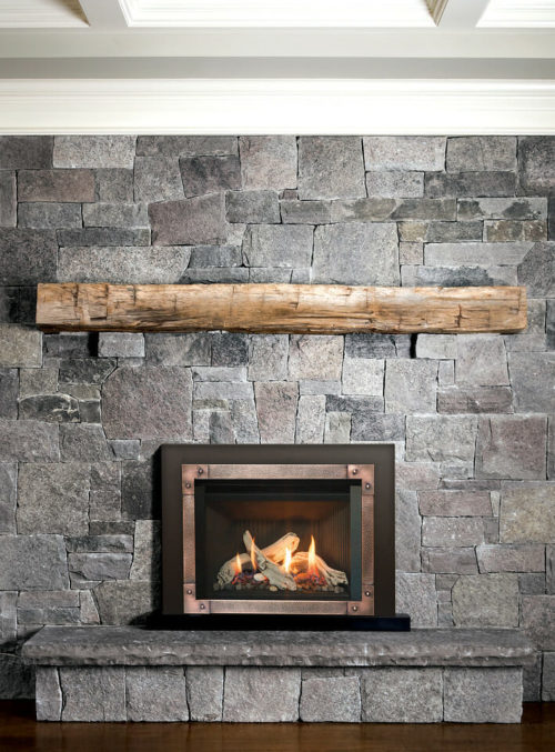 Driftwood, Fluted Black Liner, Hammered Edgemont Front in Copper and 3 Sided Backing Plate in Black-X2